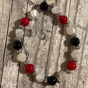 Moonstone and Black Onyx Beaded Bracelet